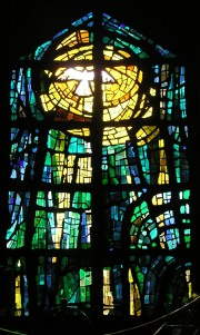 Surviving original stained glass by Unger & Schulze, in the former baptistery area