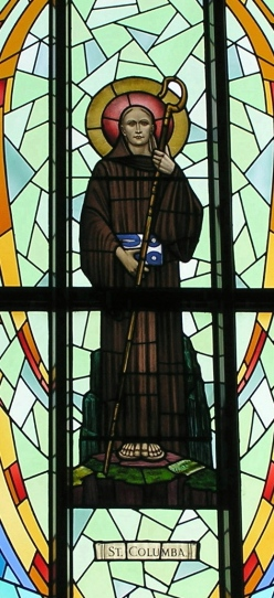 Portion of stained glass window depicting our patron saint