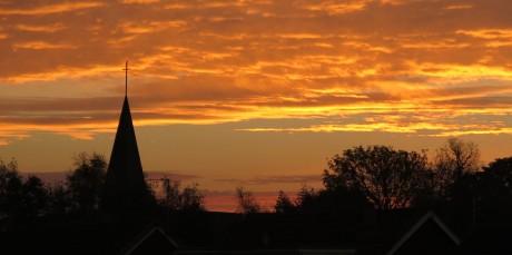 St Columba's spire - distinctive feature in the local scene