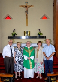 After the Civic Service for Upton Parish Council: Fr Cooke with (L-R) Cllrs John Butler, Jean Evans & Pat Lott, and parishioner David Savage