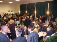 A crowded Hall after Mass with the Papal Nuncio