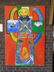 Painting representing St Columba. By former pupil of St Werburgh's & St Columba's Primary School