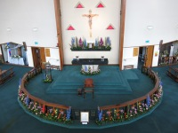 Sanctuary & Altar Rail displays: Anne Clarke, Anne Jones & Marie Cunniff. Candle holders on the Altar are those used at the opening of the church