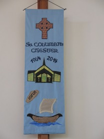 Banner representing the St Columba connections: by Margaret Nash & Sue Carr