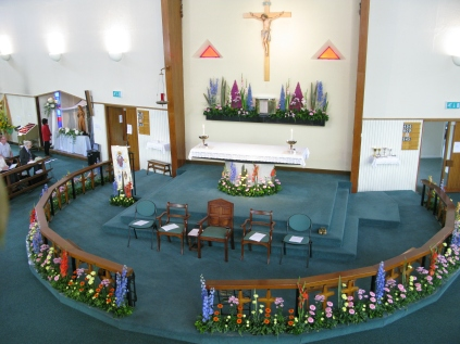 St Columba's Church ready for the start of the Celebration Mass on 6th September 2014