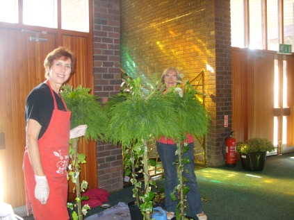 Liz Wilson & Margaret Patino-Pan working on the topiary trees
