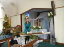 Rebecca Hogan working on Our Lady's Altar