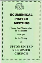 Ecumenical Prayer Group, 1st Wednesdays at Upton URC