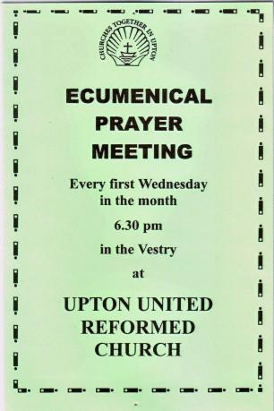 Ecumenical Prayer Group, 1st Wednesdays at Upton URC