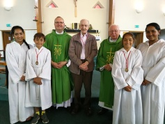 Ken Kilcoyne with Fr Jonathan, Deacon Tom, and today's Altar Servers